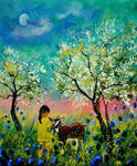 Meeting in an orchard