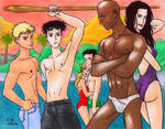 Young Avengers swimming pool by Cesar-Hernandez