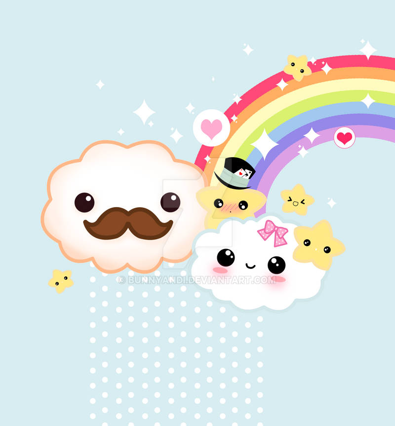 Cute rainbows and clouds