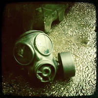 gas mask in the rain by billy2917