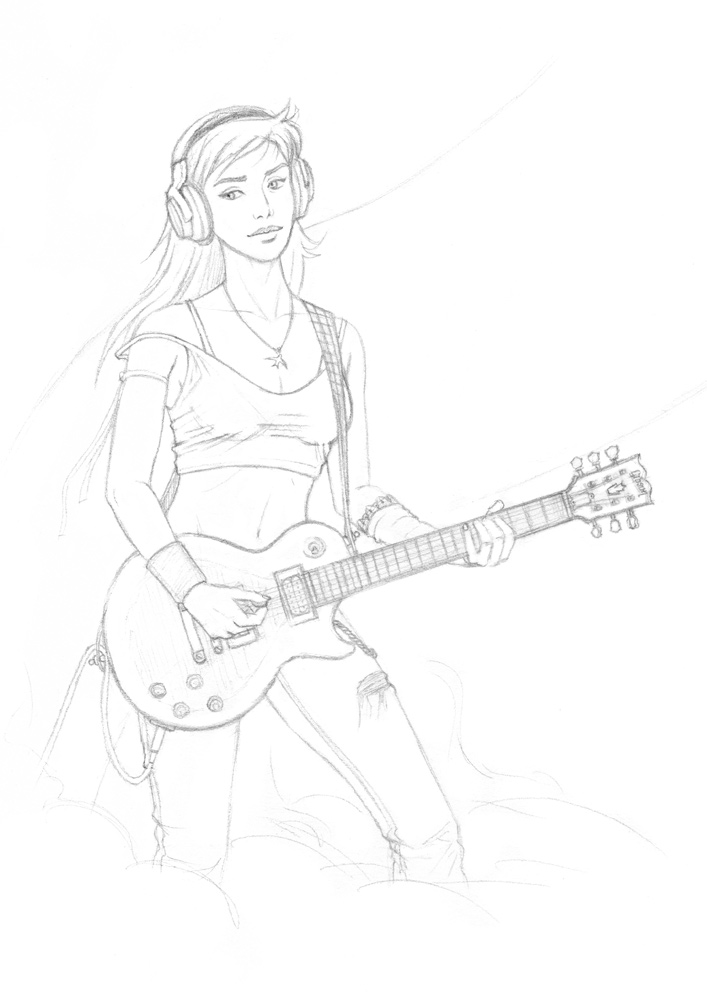 Rock girl i pencil sketch by almayer