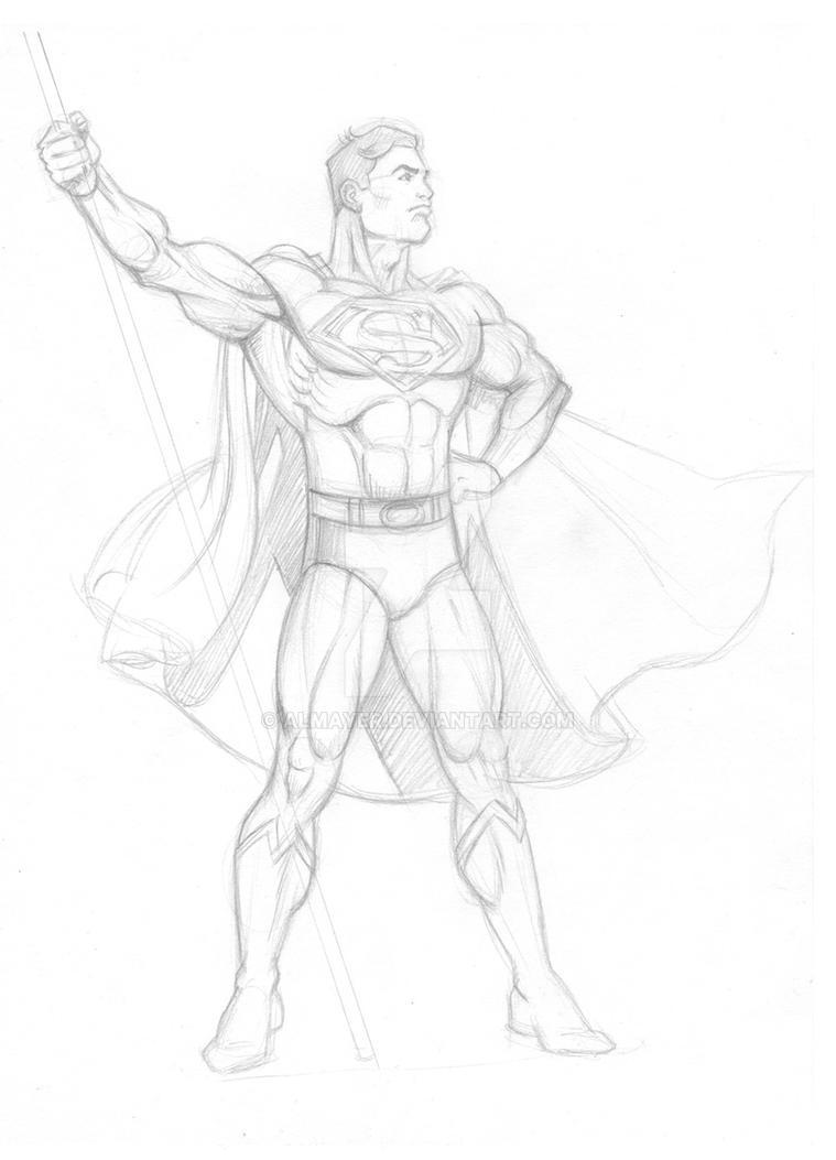 4th of July Superman pencil copy by Almayer