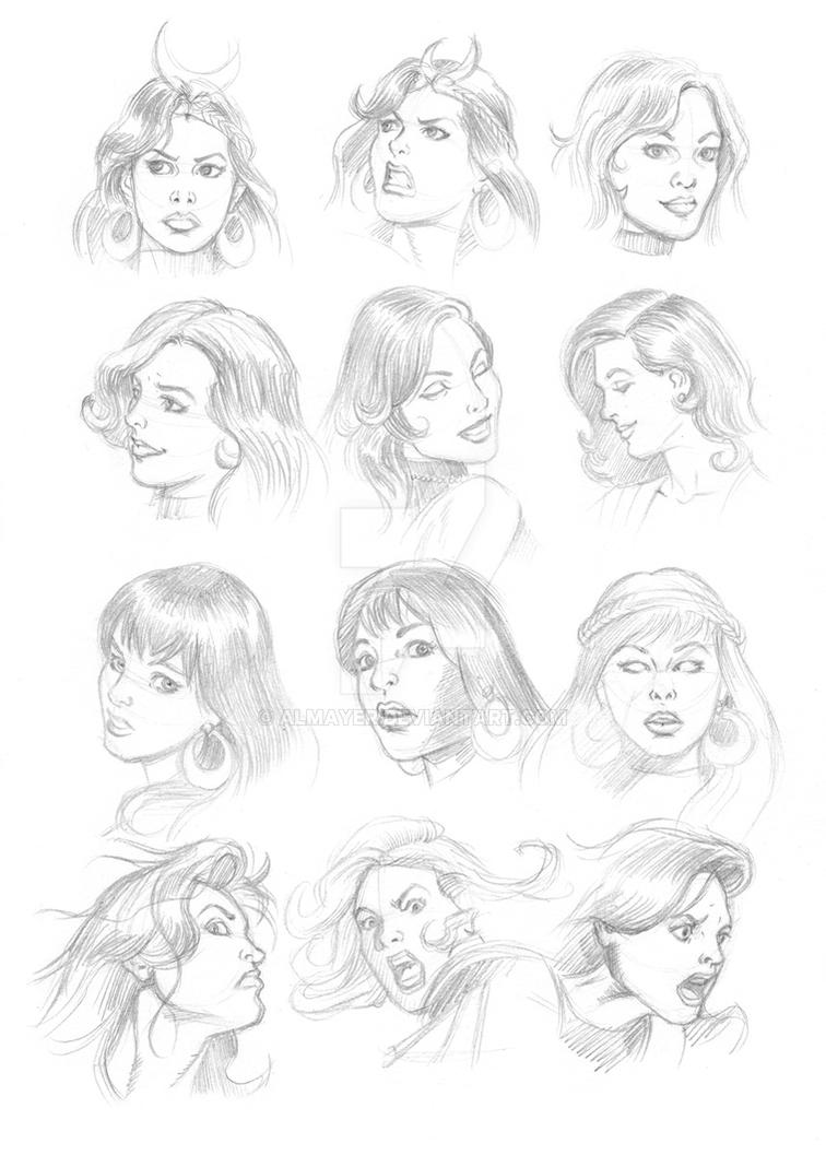 Donna Troy faces by Almayer