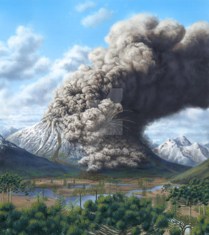 Volcano smoke over carboniferous period valley by Almayer