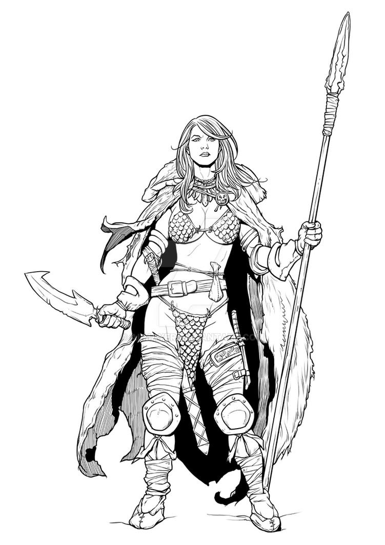 Inking practice - Red Sonja by Frank Cho by Almayer