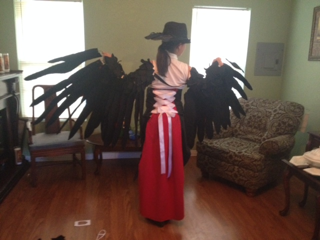 Honchkrow Cosplay Finished Back by GailFreebird