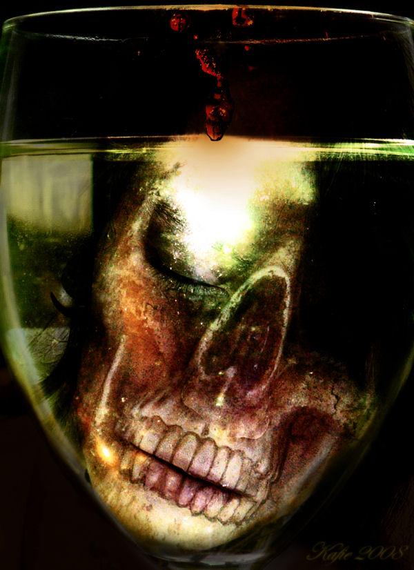 Skull in the Wine by kafie