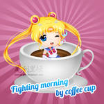 Fighting Morning By Coffee Cup