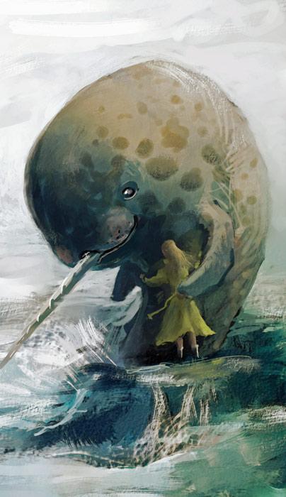 Narwhal hug by WanderingInPixels