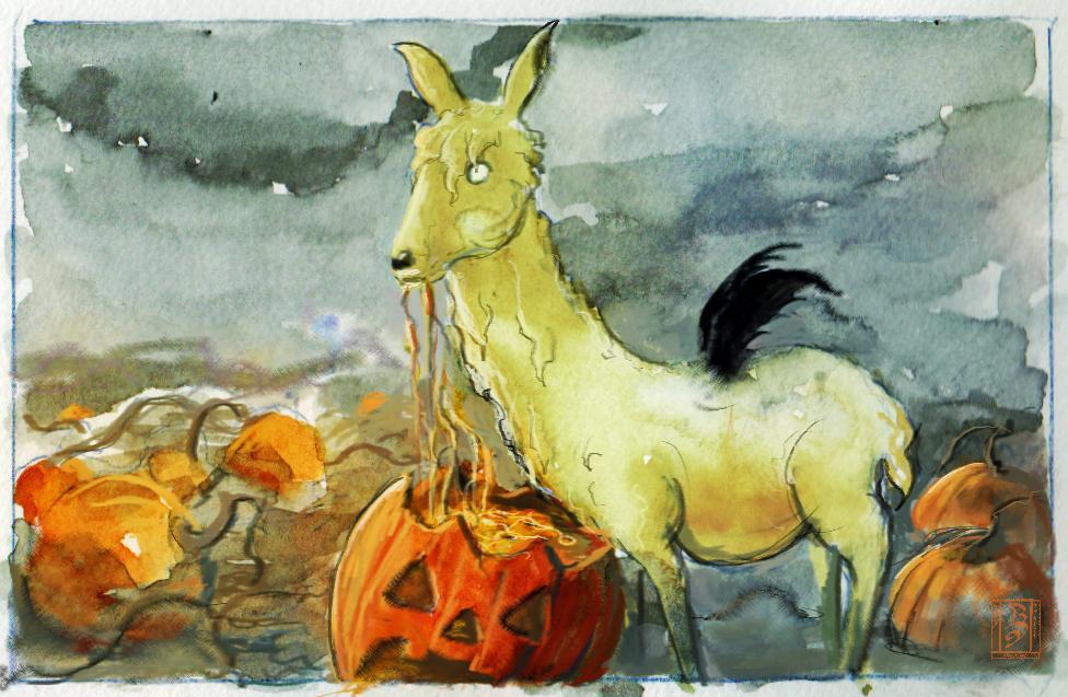 halloween llama by WanderingInPixels