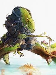 lizard knight by WanderingInPixels