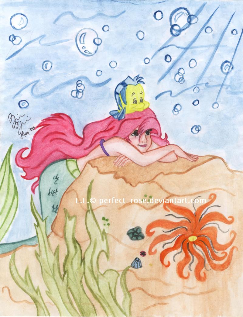 Ariel + Flounder by lilmermaid-club