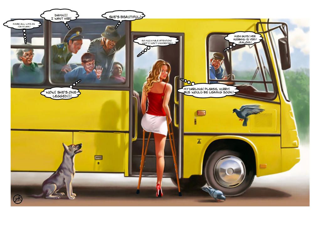 Bus Station (Amputee Fantasy With V.Barykin) By Bordoler