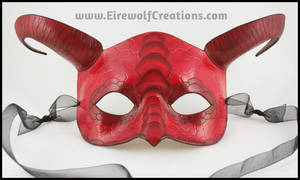 Scaled Ram's Horn Dragon Mask, Red