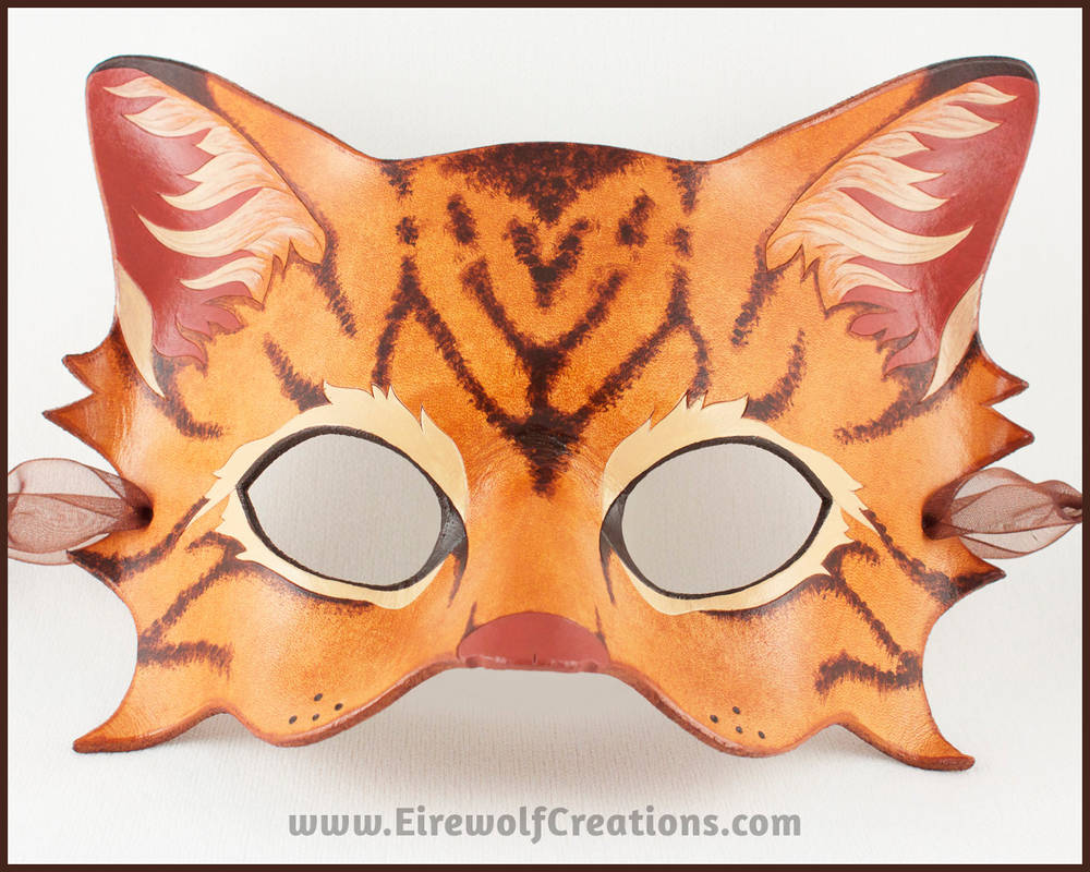 Brown Tabby Cat handmade leather mask