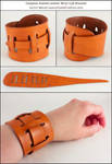Claspless Slotted Leather Wrist Cuff Bracelet
