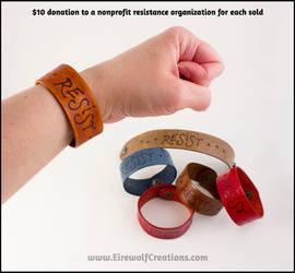 RESIST leather bracelets by EirewolfCreations