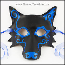 Spiral Wolf handmade leather mask
