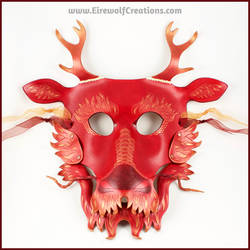 Eastern Dragon mask, red and gold, removable jaw