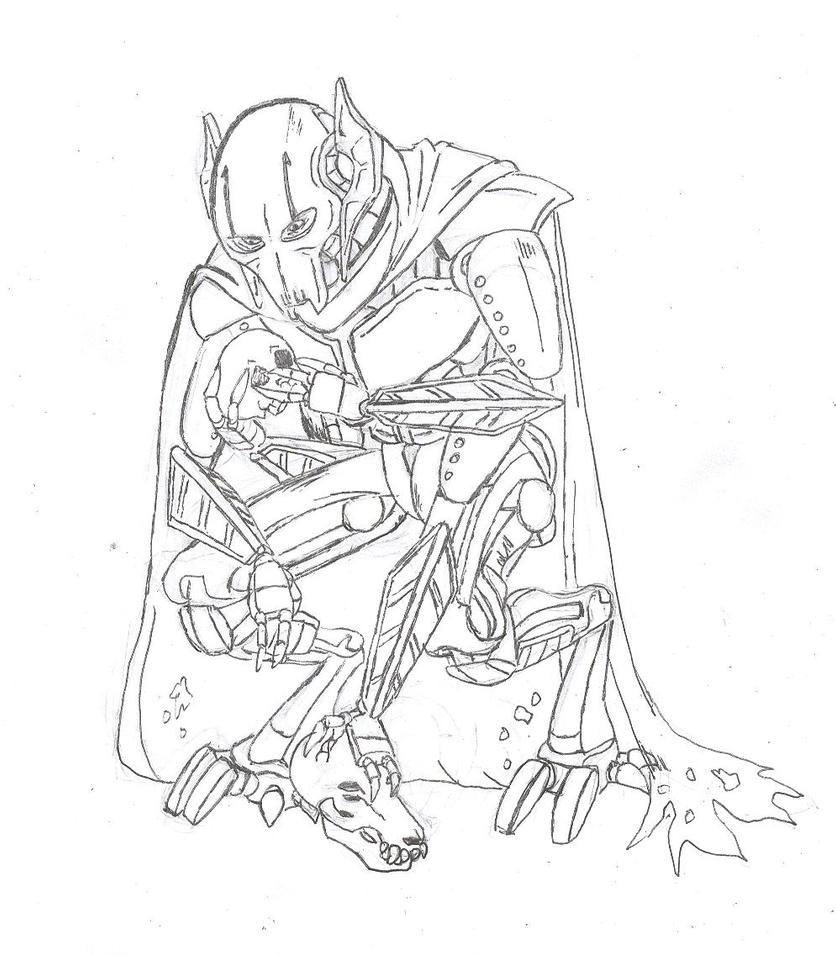General grievous lineart by eshjesusfreak on deviantart for General grievous coloring page