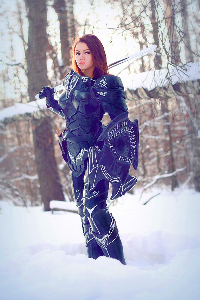 Skyrim.Imperial in ebony armor_1 by Elen-Mart