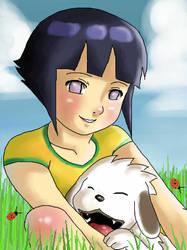 Hinata and Akamaru by Cocodoo