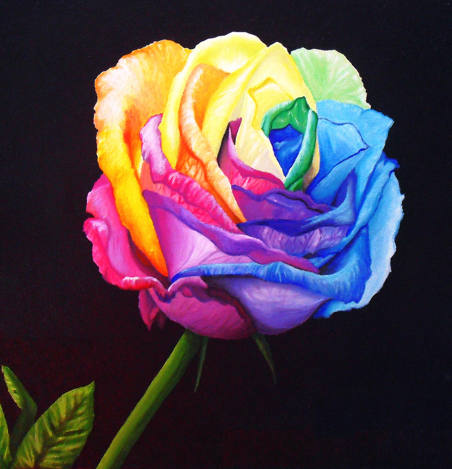 Rainbow rose recolored by angelskissme on deviantart for Rainbow dyed roses