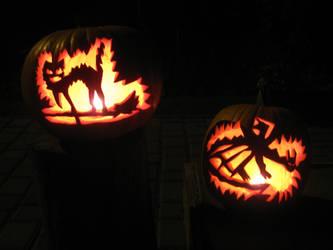 Halloween Pumpkin Cat on the broom, and Dragon