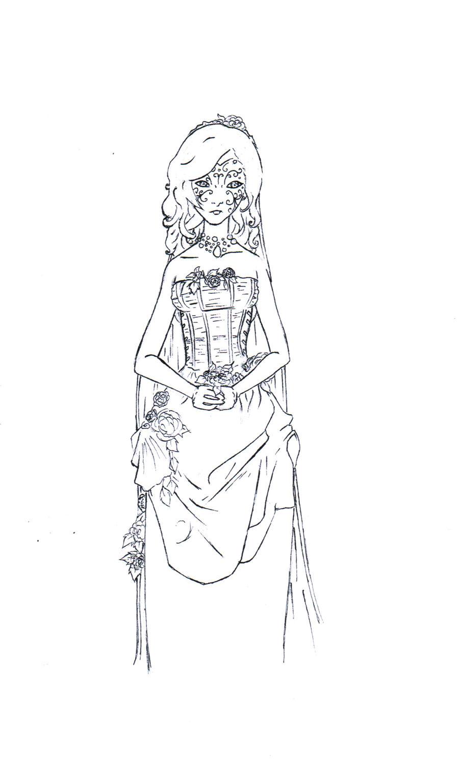 Wedding Dress Line Drawing : Wedding dress lineart by sadistprince on deviantart