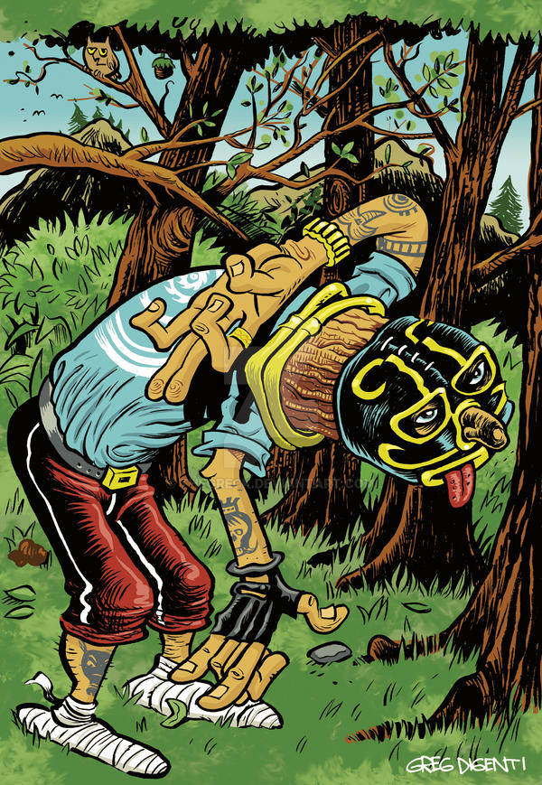 Mexican Wrester in the Woods (color) by thegreck