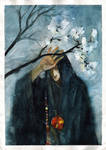 Caped man with flowers