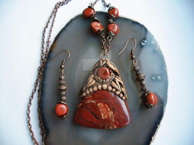 Polymer clay and semi precious stone pendant set by littleme1969 mozeypictures Images