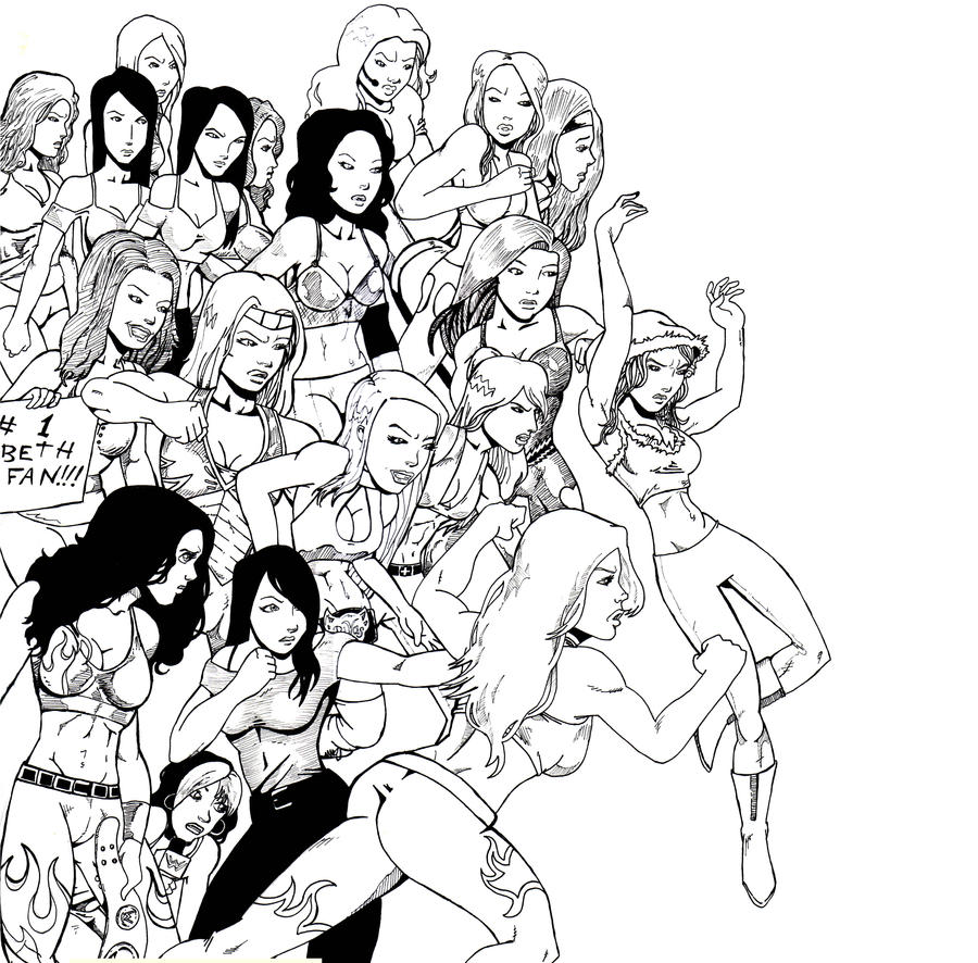 Divas vs knockouts wip by inthedoorway on deviantart for Diva coloring pages