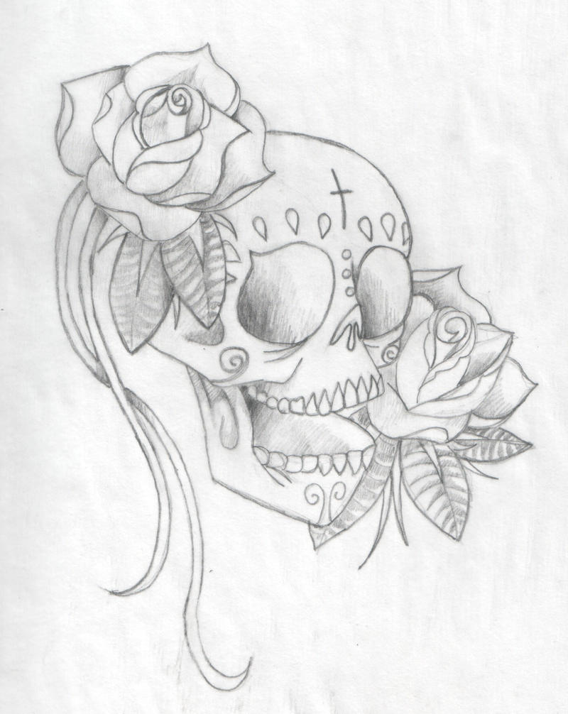 Day of the dead drawings skulls