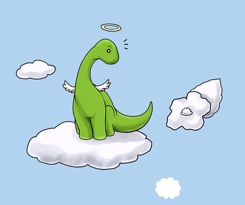Angel Brontosaurus by NeuroticCrow