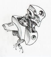 Robot head Janus by Mathieu-Larno