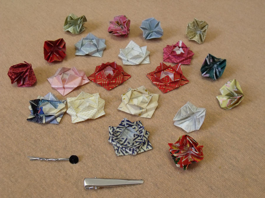 for sale origami flower barettes by cayra on deviantart