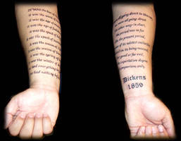 Dicken's Excerpt Tattoo by Liz1ttrstudio