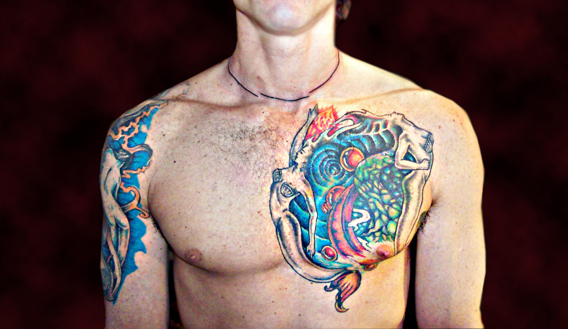 Chest Piece Tattoo Cover up by
