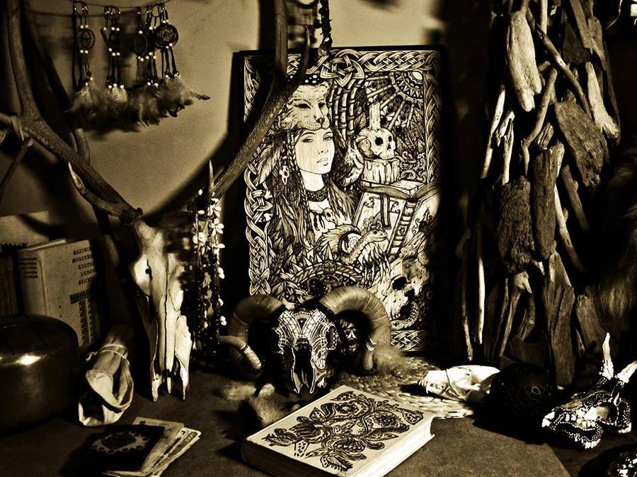 Shaman among the skulls by ZawArt