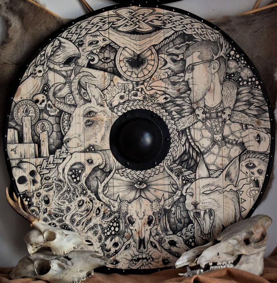 Commissioned viking shield by ZawArt