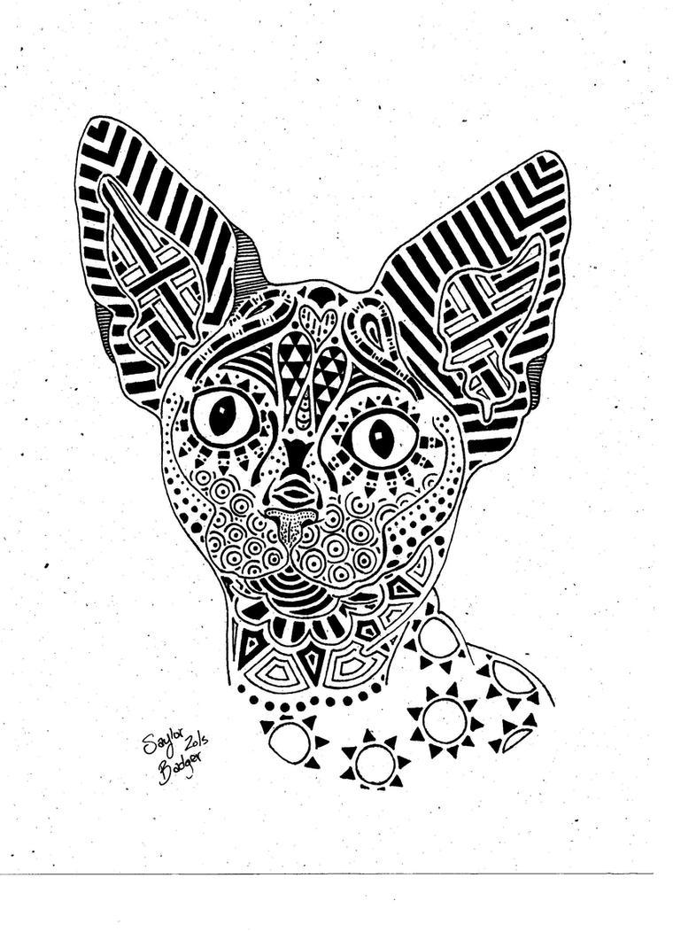 Naked Mandala Cat by Sayla-Moon