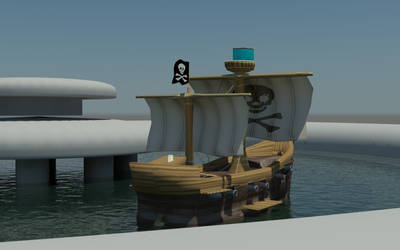 Ship At Fountain by Maxpow