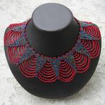 red and iris beaded collar