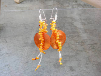 orange coral earrings by Polychroia