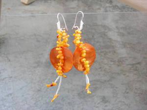 orange coral earrings