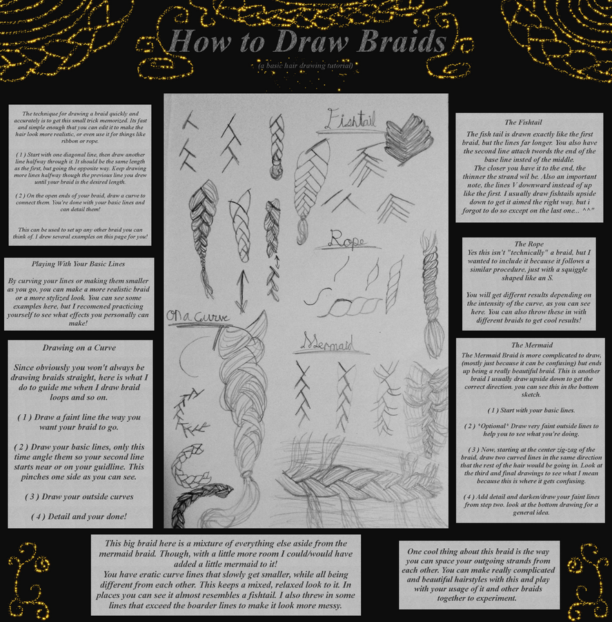 how to draw simple braid