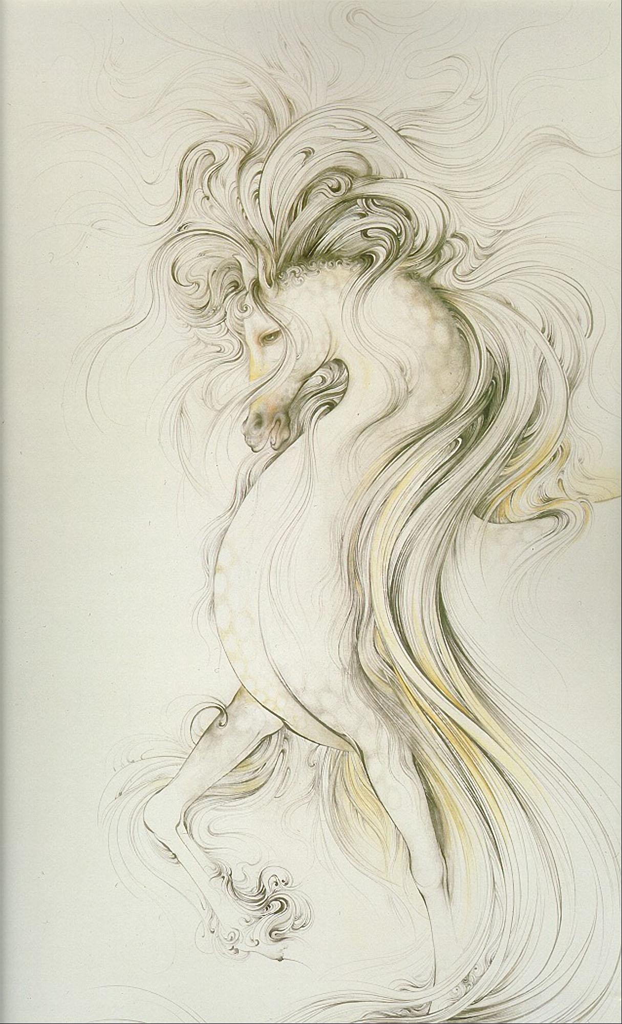 مینیاتور اسب سرکش 1 - فرشچیان --- نقاشی زیبای مینیاتور اسب سرکش با طرح ساده -  نقاشی مینیاتور - اثری بزرگ از استاد محمود فرشچیان استاد بزرگ مینیاتور ایران