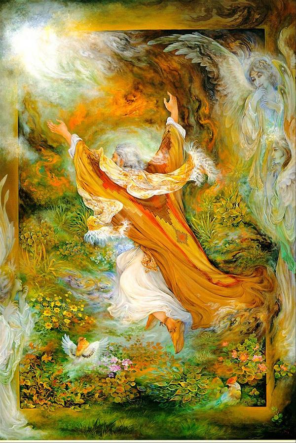 مینیاتور ابراهیم نبی - فرشچیان --- نقاشی زیبای مینیاتور ابراهیم نبی علیه السلام که با منجنیق نمرود به سوی آتش پرتاب شده و آتش برایش گلستان شده است -  نقاشی مینیاتور - اثری بزرگ از استاد محمود فرشچیان استاد بزرگ مینیاتور ایران