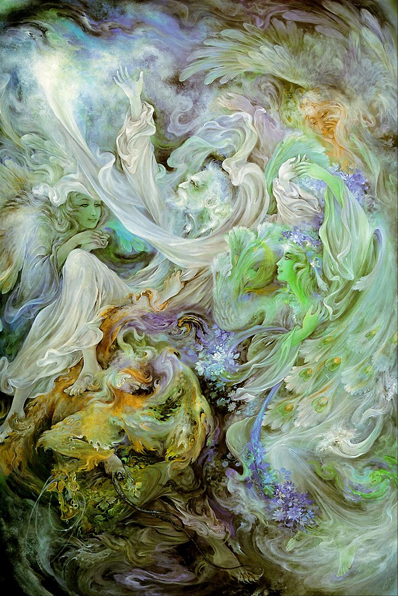 مینیاتور جاذبه بهشت - فرشچیان --- نقاشی زیبای مینیاتور جاذبه بهشت -  نقاشی مینیاتور - اثری بزرگ از استاد محمود فرشچیان استاد بزرگ مینیاتور ایران
